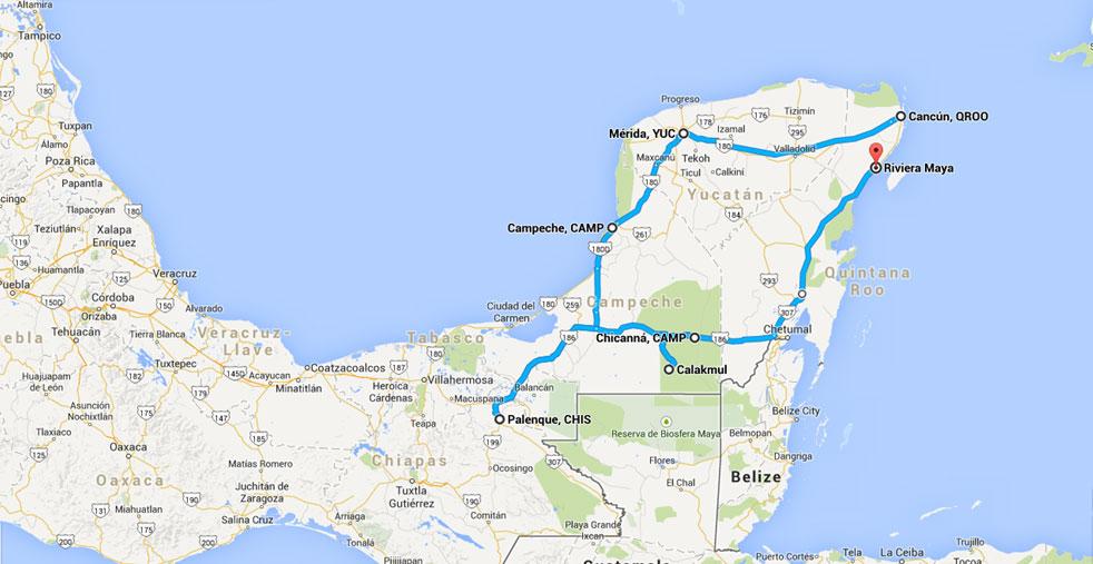 Maya World Map.Journeys Around The Peninsula Of Yucatan Chiapas